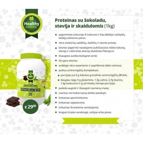 Healthy Choice 100% išrūgų baltymai 1 kg (šokolado skonio) ir dovana!