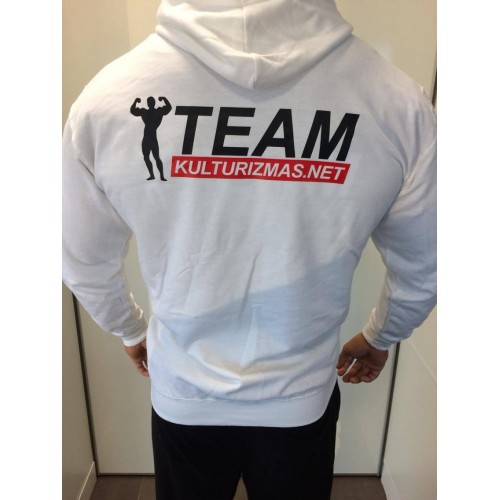 Team Kulturizmas.net džemperis su kapišonu baltas