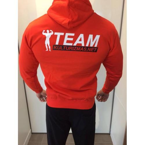 Team Kulturizmas.net džemperis su kapišonu ryškiai raudonas