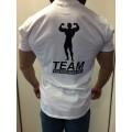 Team Kulturizmas.net marškinėliai balti su pilku