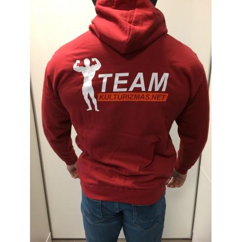 Team Kulturizmas.net džemperis su kapišonu plytų raudonumo