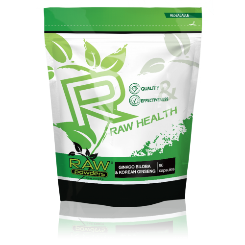 Raw Powders Ginkgo Biloba & Korean Ginseng 90 kaps