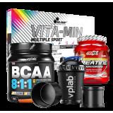 Rinkinys: kreatinas, bcaa, vitaminai, plaktuvė + DOVANA!