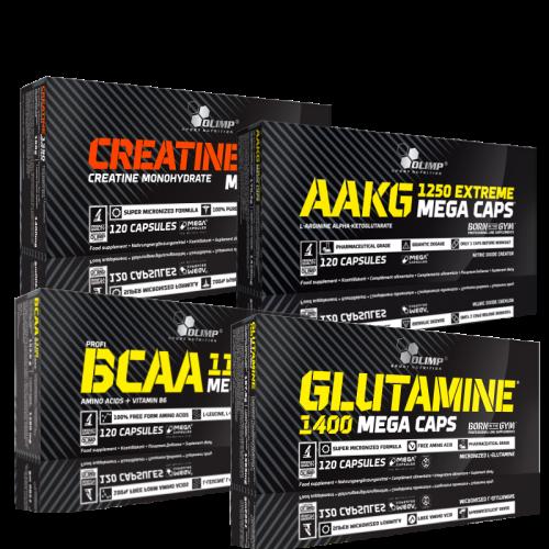 Olimp rinkinukas: BCAA, glutaminas, AAKG, kreatinas