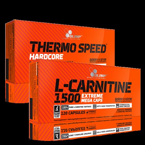 Olimp L-Carnitine ir Thermo Speed Hardcore po 30 kaps.