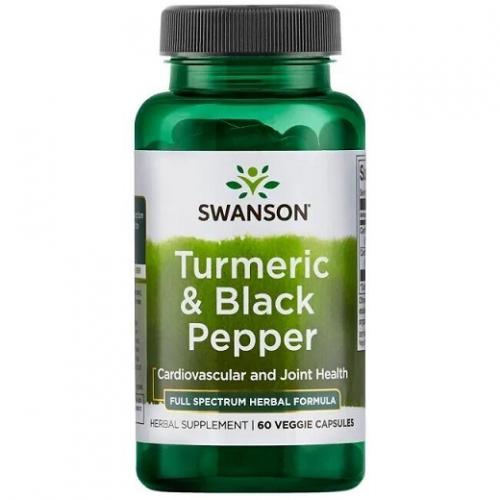 Swanson Turmeric & Black Pepper (Ciberžolė su juodaisiais pipirais) 60 kaps.