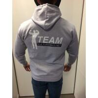 Team Kulturizmas.net džemperis su kapišonu pilkas