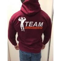 Team Kulturizmas.net džemperis su kapišonu burgundiškas