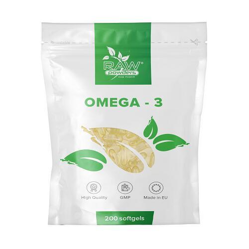 Raw Powders Omega 3 žuvų taukai 200 kaps.