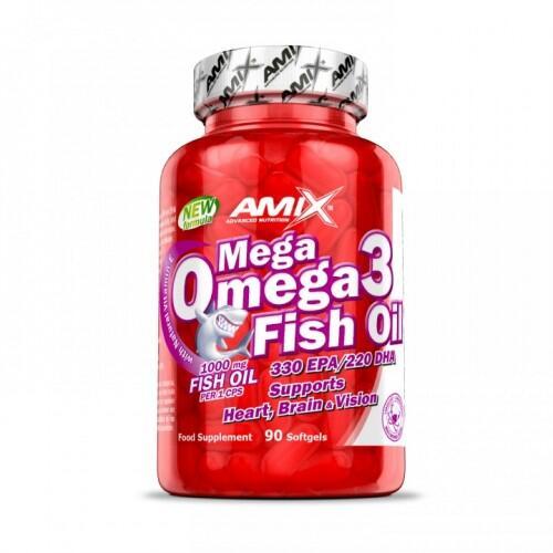 Amix Mega Omega 3 Fish Oil (žuvų taukai) 90 kaps.